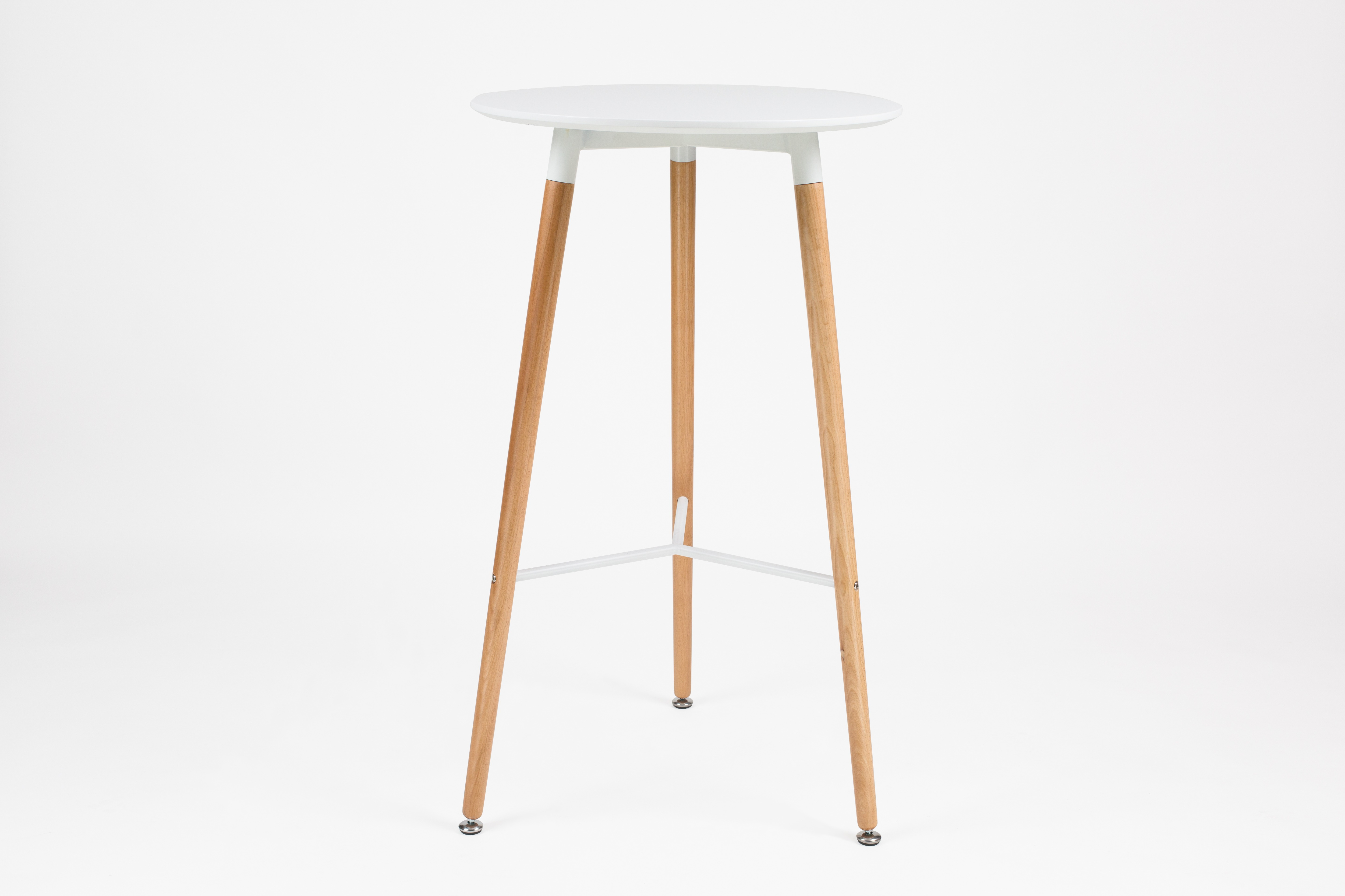 Bar Table With Beech Wood Legs (White) 60 CM