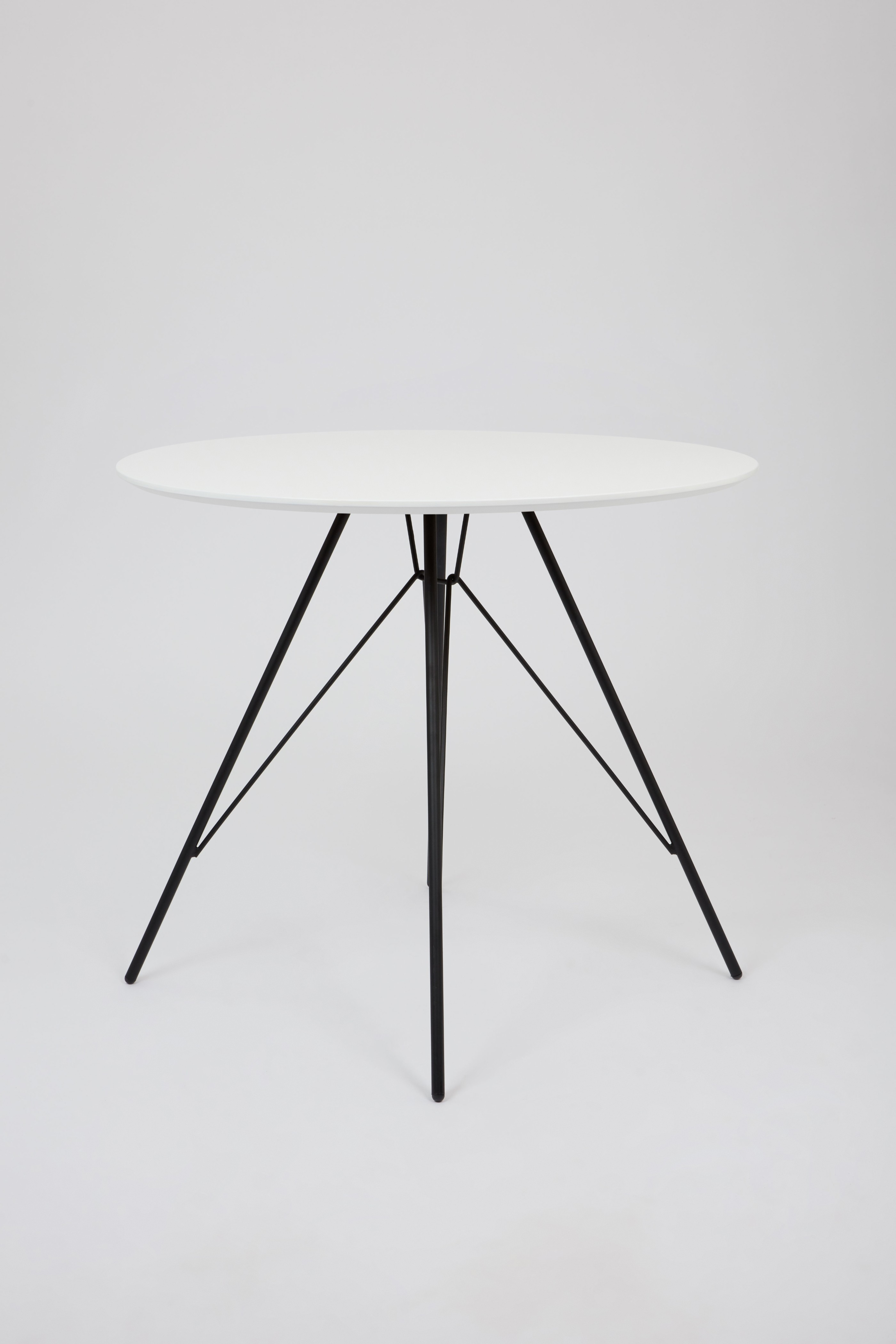 Ballon Dining Table With Black Metal Legs White 80cm Fusionwell Co Uk